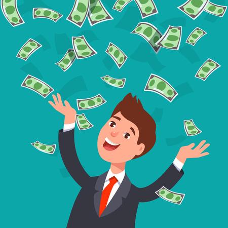 Illustrazione vettoriale di uomo d'affari felice celebra il successo in piedi sotto soldi banconote di banconote in denaro cade su sfondo blu. Concetto di successo, di successo, di stile di ricchezza