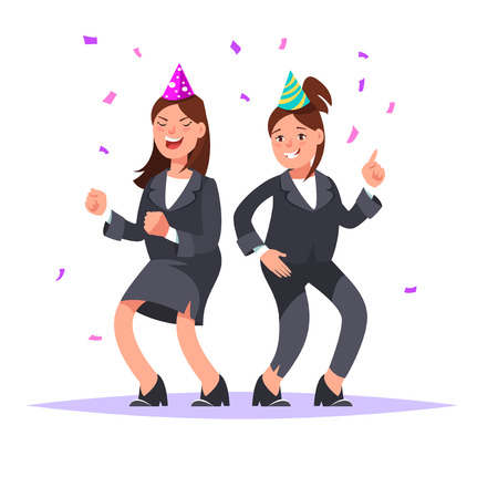 Two young businesswomen having fun corporate party. Couple of funny girls in business suits dancing and celebrating isolated in cartoon style