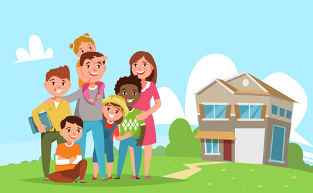 parenthood: Big international family with adopted child standing together in the background of his family house. Vector illustration flat style