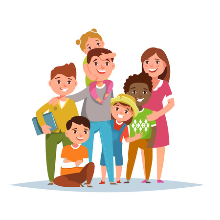 parenthood: Big international family with adopted child standing together on white background isolated. Vector illustration flat style