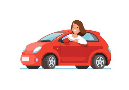 Vector flache Illustration von sitzenden Fahrten eines glücklichen Fahrers der jungen Frau in seinem roten Auto. Designkonzept für ein neues Auto kaufen Vektorgrafik