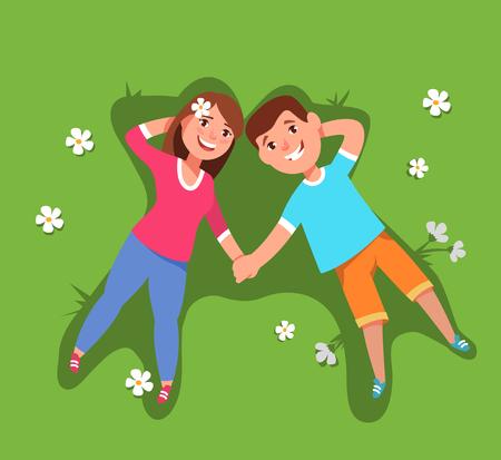 Ilustración vectorial Par joven mujer y el hombre acostado se encuentran en la vista superior de hierba. Vacaciones de verano y de ocio