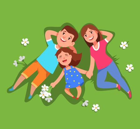 벡터 일러스트 레이 션 행복 한 가족 아버지, 어머니와 하늘에 거짓말을 잔디 상위 뷰보기에 누워 작은 딸. 여름 및 가족 여가