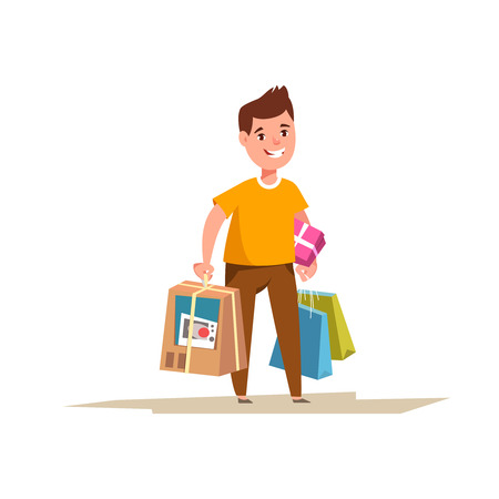 Happy customer with shopping bags and boxes of goods in the hands. Joyful man with a large sale purchases isolated cartoon style. Big sale concept