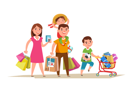 Happy family walking with shopping bag in in hands and doing shopping isolated. Father mother and child purchase cartoon style. Vettoriali