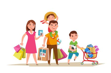 Gelukkige familie die met het winkelen binnen zak in handen lopen en geïsoleerd winkelen doen. Vader moeder en kind kopen cartoon stijl. Stockfoto - 81381606