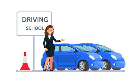 Vectorillustratie van glimlachend jong vrouwenpak die zich dichtbij die drijfschoolauto bevinden in vlakke stijl wordt geïsoleerd. Ontwerpconcept chauffeur onderwijs. Stock Illustratie