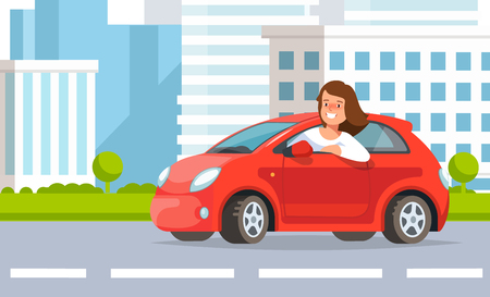 Vector illustration of young woman auto driver rides in red car city street in flat style. Concept life in the city