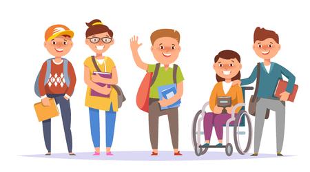Ilustración vectorial grupo de iconos de la escuela primaria niño y niña ropa colorida con el libro de texto y la mochila de fondo blanco aislado. Estilo de dibujos animados Ilustración de vector