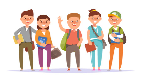 Vector illustration icon group undergraduate student boy and school girl colorful clothes with textbook and backpack standing isolated white background. Cartoon style Illustration