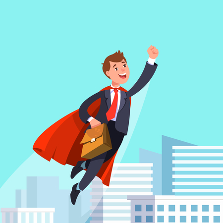 Vector illustration of happy businessman flying in business suit and red cape. Business man superhero holding hand up flies swiftly on the background of the modern urban landscape Illustration