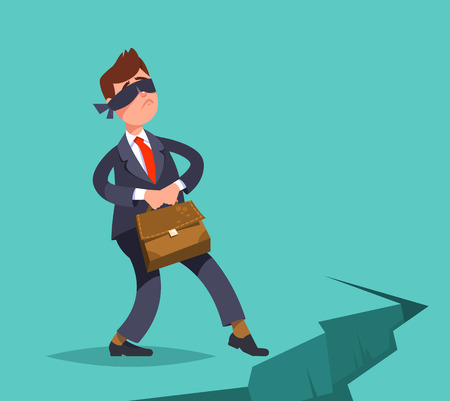 indecisive: Vector illustration inexperienced, weak businessman take a step blindfolded on the edge of the abyss. Business concept Illustration