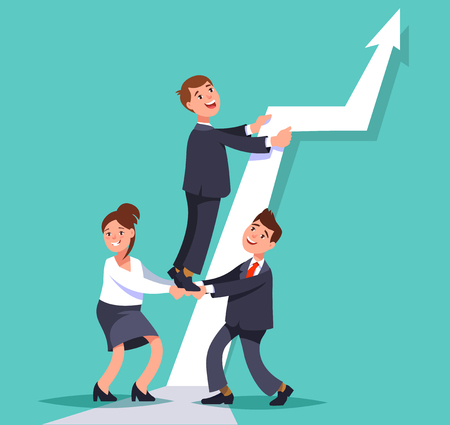 competitions: Vector flat illustration business persons work together to achieve the goal. Business teamwork concept