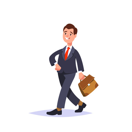 smart goals: Vector flat illustration successful businessman in a business suit and briefcase isolated. Business person