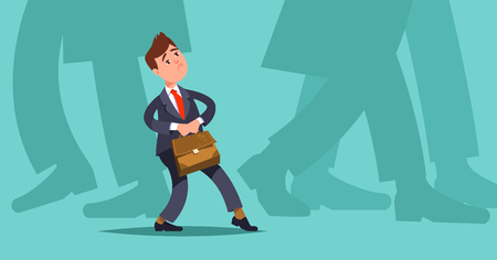 Concept mergers and acquisitions small business. Vector illustration small businessman makes hesitant steps among large companies Illustration