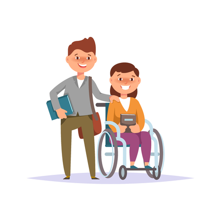 first grader: Vector illustration of disabled girl student in child wheelchair with friend school boy isolated. Couple schoolchild cartoon style