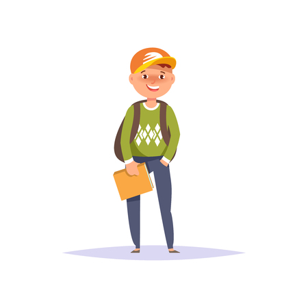Vector illustration icon elementary school boy colorful clothes with textbook and backpack isolated white background. Cartoon style Illustration