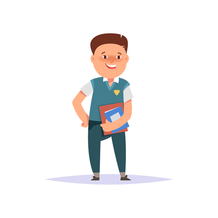 first grader: Vector illustration icon elementary school boy colorful clothes with textbook and backpack isolated white background. Cartoon style Illustration