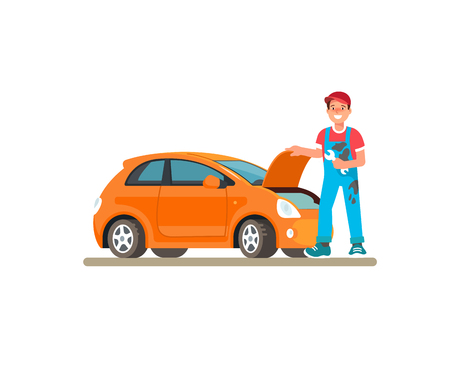 The young male mechanic in the service center car, the garage. Vector illustration in flat style. Concept design work of the repair shop