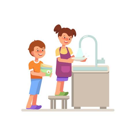 Vector illustratie lachende paar kind meisje jongen afwas cartoon vlakke stijl. Kid huishoudelijk werk afwassen geïsoleerde witte achtergrond in felle kleuren.