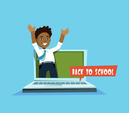 first grader: A Vector illustration of cute african student and laptop computer with chalkboard in cartoon style. Design concept postcard back to school Illustration