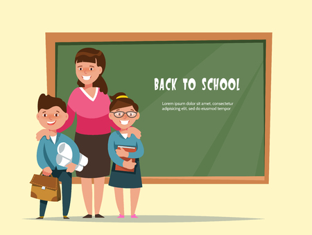 first grader: A Vector illustration group elementary school boy and girl and teacher in classroom in cartoon style. The design concept postcard back to school.