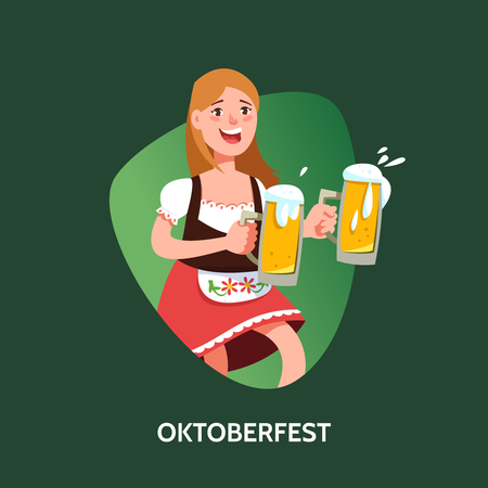 bavarian girl: Vector illustration fun germany girl waitress in traditional costume with beer mug cartoon style. Oktoberfest beer festival