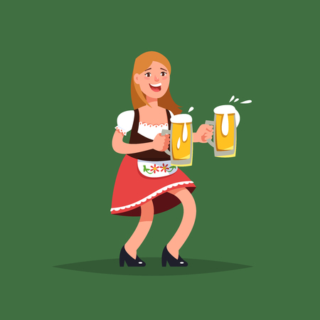 Vector illustration fun germany girl waitress in traditional costume with beer mug cartoon style. Oktoberfest beer festival