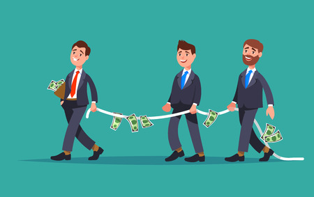 Financial advisor professional leads the rope with the money a group of businessman need of financial assistance. Design concept financial support and assistance cartoon style Illustration