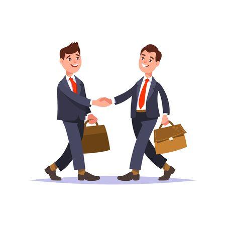 두 기업인 및 비즈니스 악수의 모임입니다. 인사 비즈니스 파트너 및 사람들 상호 작용. 두 남자의 악수