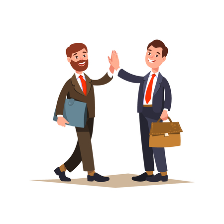 The meeting of two businessmen and business handshake. Greeting business partners and people interactions. Two men give five