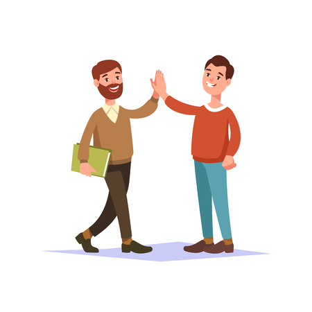 greet: The meeting of two hipster guy friend and handshake raise high the hands. People interactions. Illustration