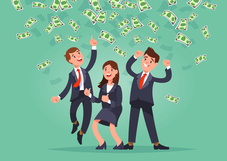 Vector illustration of happy business team celebrates success standing under money rain banknotes cash falling on blue background. Young man and woman hands raised high and catches bills