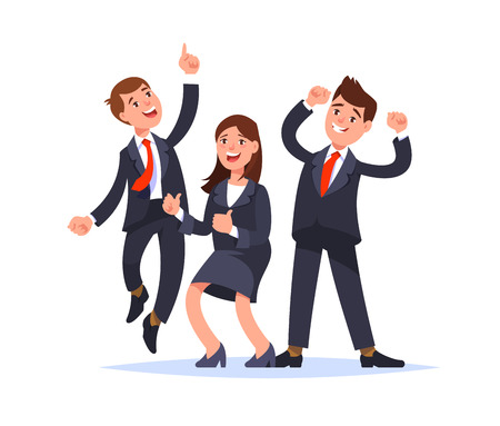 Successful business team celebrating success. Happy business people jumping raised hand gesture and smiling. Office party.Vector illustration flat style