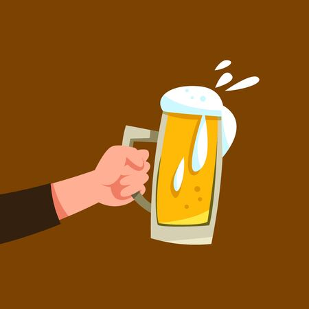Vector illustration hand holds mug of beer with alcohol drink or brew cartoon style