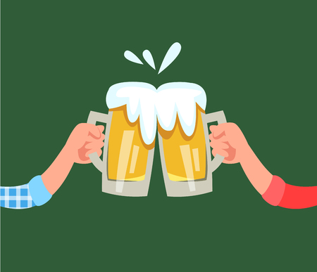 Vector illustration hand holds mug of beer with alcohol drink and making a toast cartoon style
