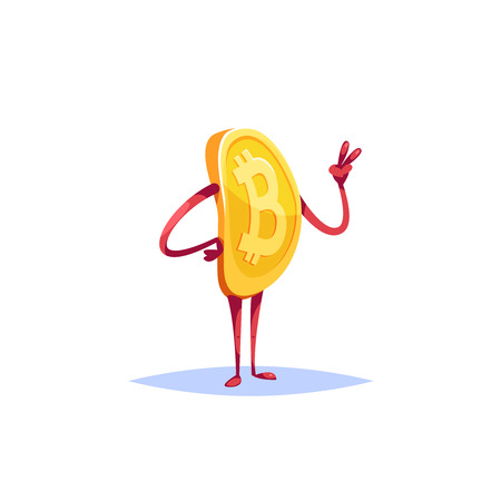 Illustration character bitcoin emoji showing victory gesture cartoon style.