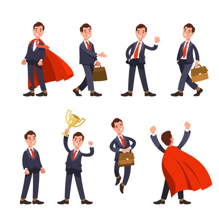 A Vector illustration set happy businessman in different situations and poses flat style Ilustrace