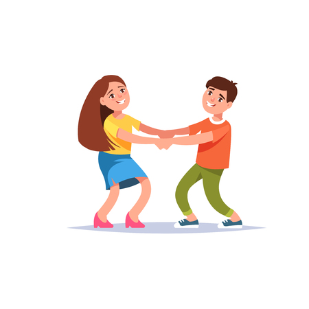A Vector illustration happy boy and girl holding hands isolated flat style. Concept of friendship, childhood , game
