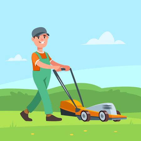 Gardener with lawn mower 向量圖像