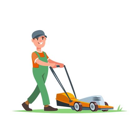 Gardener with lawn mower Ilustracja