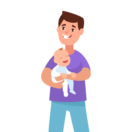 Vector illustration happy young father holding his toddler cartoon style. Concept fatherhood and care. Single dad Illustration
