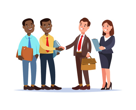 Vector illustration african business team contracts with partners cartoon style. Meeting colleagues Иллюстрация