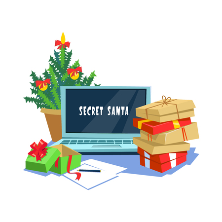 Vector illustration gift box present secret santa office. Christmas celebration in the workplace cartoon style Imagens - 89133406