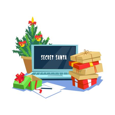 Vector illustration gift box present secret santa office. Christmas celebration in the workplace cartoon style Çizim