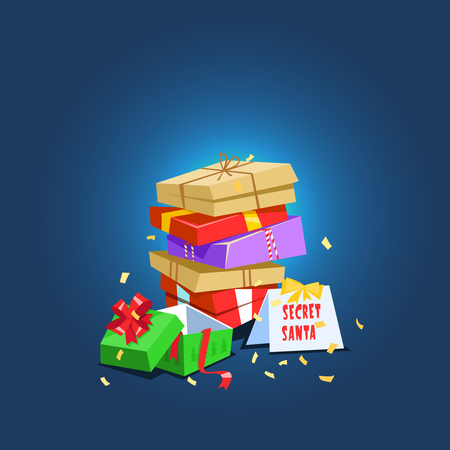 Vector illustration present secret santa. Christmas celebration lot of colorful gift box icon cartoon style