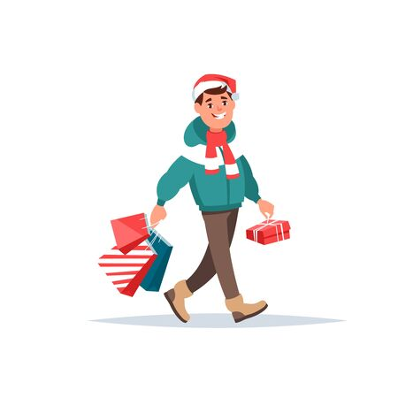 shopping bag vector: Vector illustration happy man hold present and shopping bag cartoon style. Male winter clothing and Santa hat doing Christmas shopping isolated background. Illustration