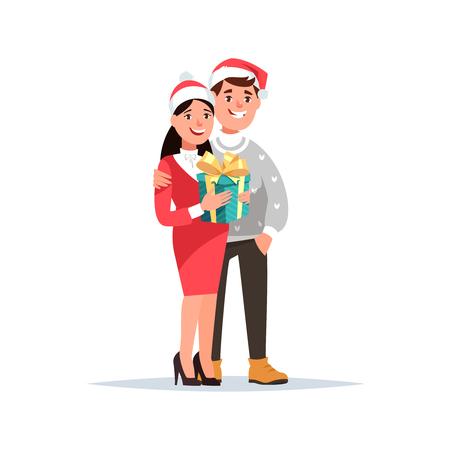 Jeune couple reçoit un cadeau de style de bande dessinée . fille et gars dans des vêtements de noël tenant boîte-cadeau sur fond blanc. isolé Banque d'images - 90011161