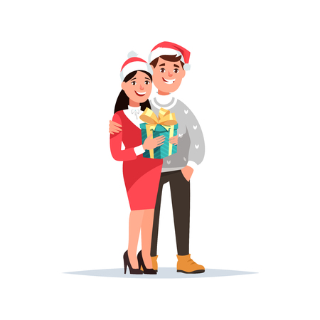 Young couple receives a present cartoon style. Fun girl and guy in Christmas clothes holding gift box on isolated background. Illustration
