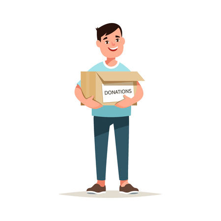 Vector illustration volunteers holding donate box with charity. Concept social assistance and support